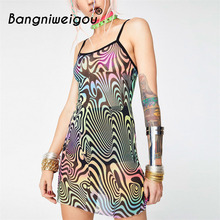 Bangniweigou Robe Femme 2018 Mesh Sheer Paisley Dress Sexy Fancy Colorful  Sling Hot Instagram Bodycon Dress d3d9945bee22