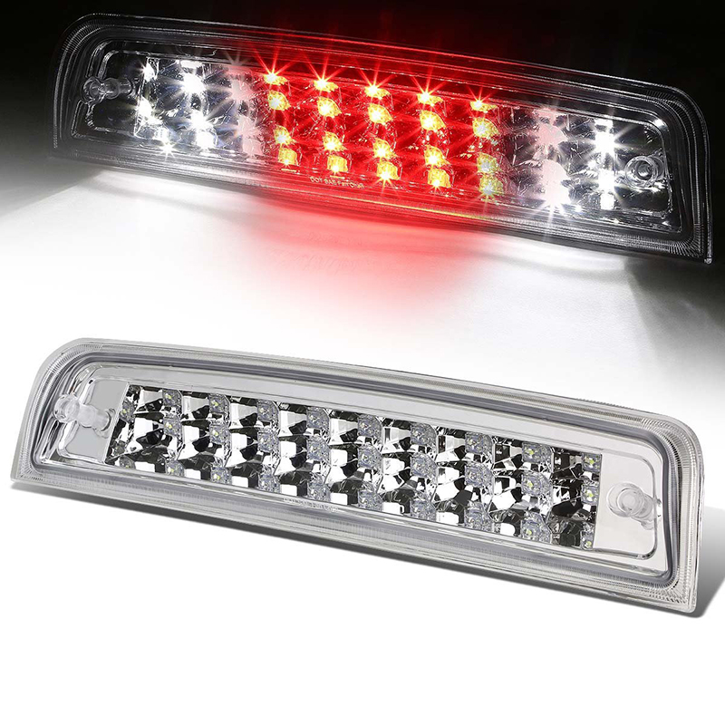 Transparent Third Brake Light Assembly Chrome High Mount Brake Stop Warning Lamp Set for Dodge Ram 1500 2500 3500<br>
