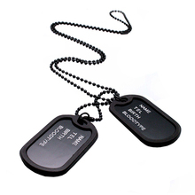 2015 hot sell Military Black 2 Dog Tags Chain Pendant Army Style Necklace Mens Jewelry gift for men 56QE