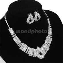 Unique Wedding Party Jewelry Set Bling Crystal Rhinestone Necklace and Earrings(China)