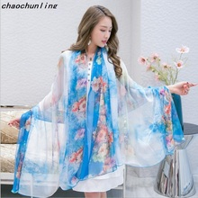 2017 Women Beach Scarves Imitation Silk Shawl Sexy Printing Scarf Pashmina American Russian Most Popular fashion Lady Scarf
