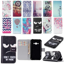 J1 Ace Cover Luxury Flip Wallet Art Print Leather Stand Phone Case For Fundas Samsung Galaxy J1 Ace J110 Cover Case J1Ace(China)