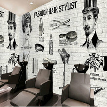 Europe and America nostalgic brick shop beauty shop hair large mural 3D wallpaper bedroom living room TV stereo wallpaper