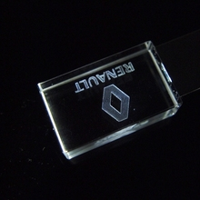 LED Light Crystal USB Flash Drive for Renault Logo 4GB 8GB 16GB 32GB USB 2.0 Memory Drive Stick Pendrive with gift box