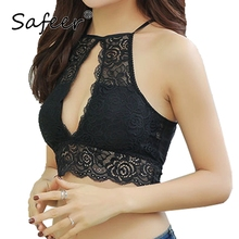 Fashion Full cup bra Sexy Hollow out Cropped Tops Lace Bralette for Women Deep V Tank Top Halter underwear Fitting no-wire