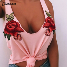 Fashion Sexy Black Tank Top Women cotton Floral patch in Embroidery vest Deep V Neck Sleeveless Tops summer Beachwear Tops white