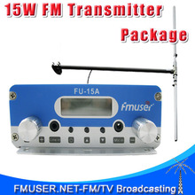 FMUSER FU-15A / CZE-15A / CZH-15A SILVER 15W FM transmitter radio broadcaster+DP100 1/2 wave Dipole antenna +Power Source KIT