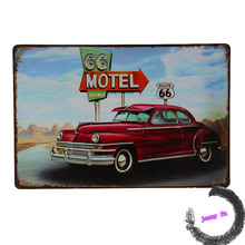 Tin Sign Georg Huber metal plate nostalgic Deco Motel U.S. Route 66 Vintage Car I53