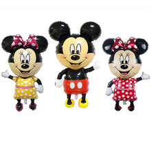 TSZWJ Large 112*64 cm Minnie Mickey foil balloons Bowknot standing mouse Polka dot wedding birthday party decor supplies globos(China)