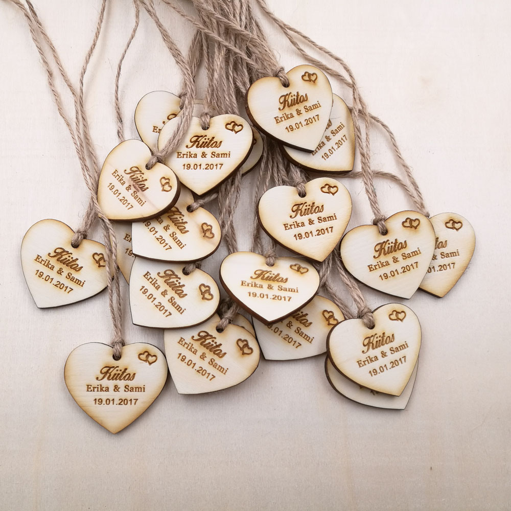 Custom save the date Wooden Tags,Personalized wedding favor tags, rustic Bridal Shower Favor Tags wooden heart wedding tags 1