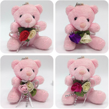 7cm x12pcs Cute Plush Sitting Teddy Bear With Flower Urso De Pelucia Bag baby shower/wedding gift Soft Toys Pink