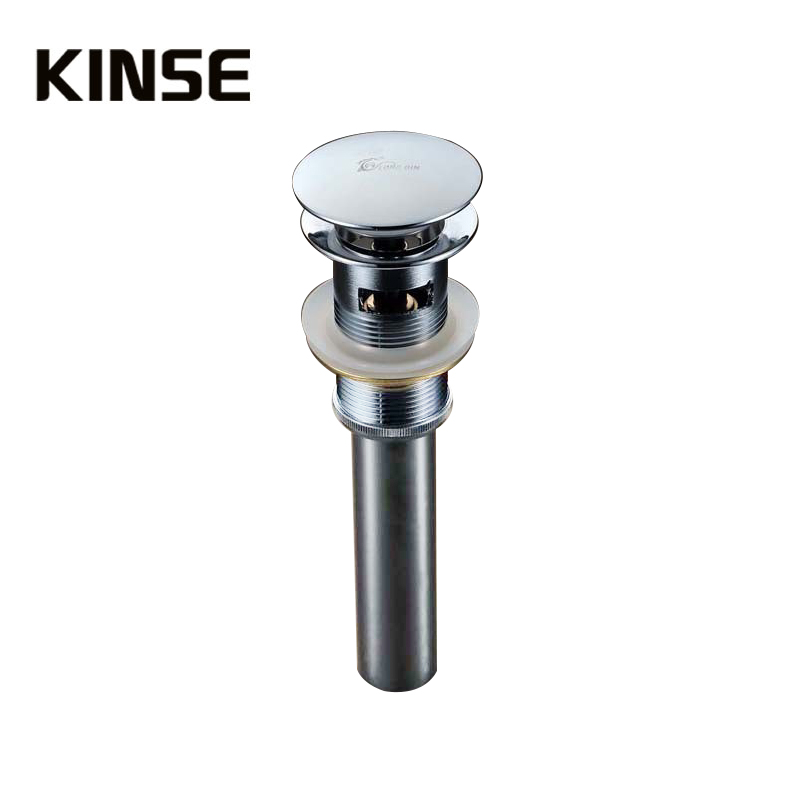 2 PCS Basin Sink Strainer Kitchen Push Down Pop-Up Strainers Brass Chrome Surface With  Water Overflow Bounce Style<br>