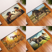 homing new arrive welcome home hallway flannel mats cool horses pattern rugs rectangular waterproof light carpets for bedroom(China)