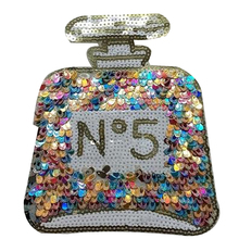 Fashion clothes patch sequins 18cm logo perfume bottle brand applique embroidery flower patches for clothing sticker patchwork