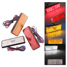 2x Universal LED Reflector White Red Yellow Rear Tail Brake Stop Marker Light For JEEP SUV Truck Trailer Motorcycle Car