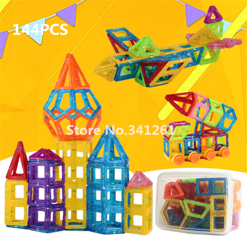 144pcs Mini Magnetic Building Blocks Toys Construction Model DIY 3D Magnetic Designer Educational Brick Square Triangle With box<br>