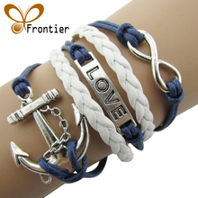 Charm  Vintage Anchor Rudder 8  Bronze Wax Cords  Multilayer Braided Bracelets For Women  B5 B103