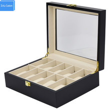 10 Slots Black Solid Wooden Storage&Disply Watches Box Japan Shopping Websites Fashion Box Custom Watch Boxees logo Caja Reloj(China)