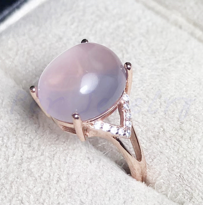 Rose quartz ring Natural real rose quartz 925 sterling silver Fine jewelry 10*12mm 6ct gemstone Women rings #F18051010