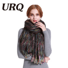 [URQ] 2017 Unique Design Large Size Woman Winter Scarf Colorful knitted Lady Long Acrylic Scarves Blanket Shawl A6A19863