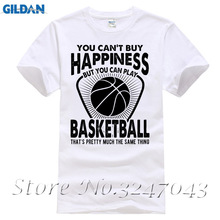 You Can't Buy Happiness But You Can Play Basketballer Mens T-Shirt New Design Cotton Male Tee Shirt Designing(China)