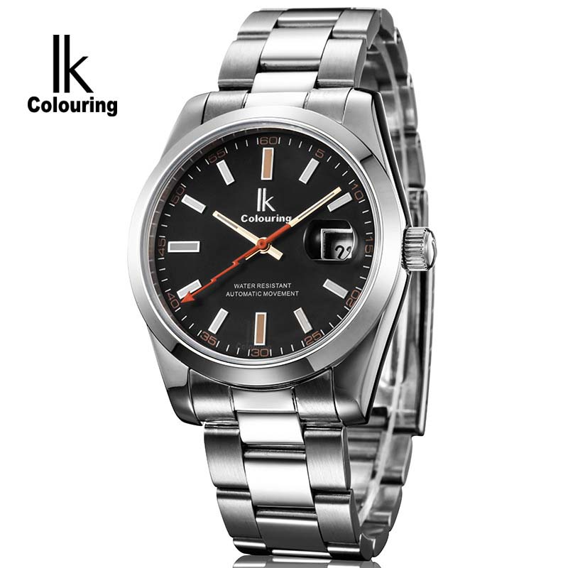 IK Brand Man Automatic Mechanical Watch Mens 12 Hours Calendar  Silver Full Steel Watches Fashion Simple Casual relojes<br>