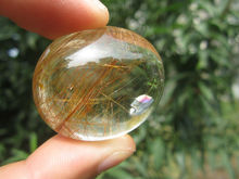 only one!!!!     35g(175 ct) Natural Hair Rutilated Quartz Crystal Pendant Cab China YARC018