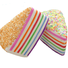 14cm Jumbo Rainbow short Cake Squishy Super Slow Rising big Super triangle Sweet Cream Charms Simulation fun food phone strap(China)