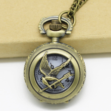 (3010)12pcs/lot Vintage Bronze Hunger Game Mini Quartz Pocket Watch Necklace Chain, Dia 2.7cm, Free shipping