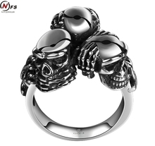 NFS Personality 3 Skull Heads Titanium Steel Ring For Men Jewelry Unique Punk Retro Maya Male Finger Sport Biker Bicycle Ring