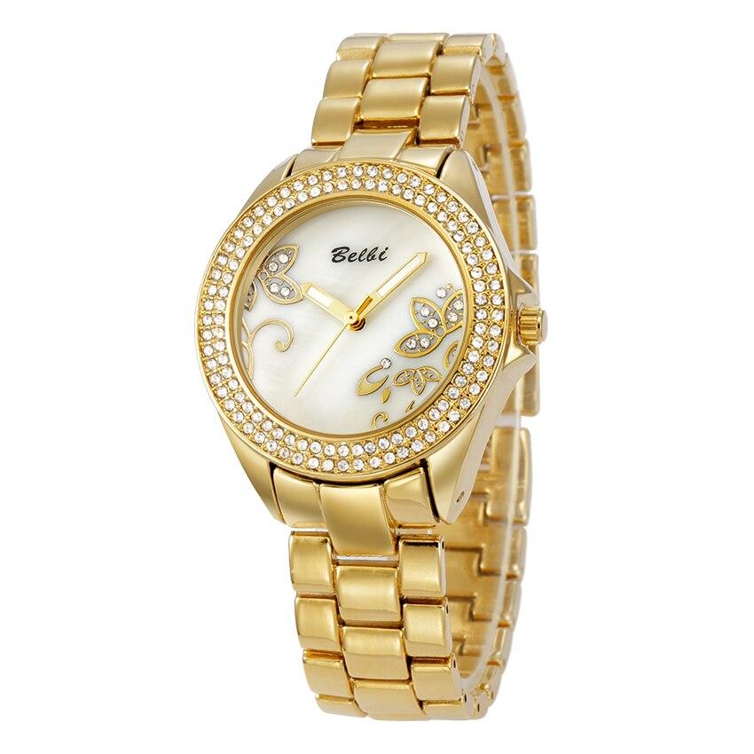 Belbi Luxury Brand Women Watch Lady New Fashion Shell Flower Dial Steel Quartz Watches Dress Quartz-Watch Rhinestone Wristwatch<br><br>Aliexpress