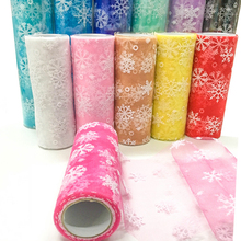 ZLJQ Flashing American ice snowflake snowflake yarn volume 15CM * 10 yards perfect decoration wedding, party, theme party7D