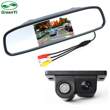 "4.3"" Car Rearview Mirror Parking Monitor + Video Parking Sensors With Rear View Camera"