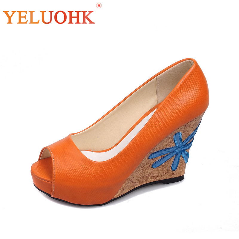 Peep Toe Platform Shoes Women Heels 9.5 CM Wedges High Heels Shoes Women Pumps<br>
