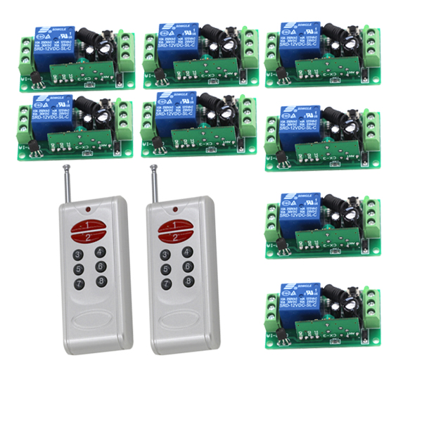 Factory Price 2 Transmitters &amp; 8 Receivers 1 Channel Wireless Relay Remote Control Switch 315MHz/433MHz<br>