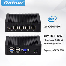 Qotom Mini PC Q190G4 4 LAN порта Celeron j1900 процессор Quad core 2.0 GHz мини пк pfsense Linux(China)