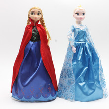 Disney Kid Toys 30cm Cute Cartoon Princess Dolls Frozen Elsa Anna With Light Music Let It Go For Kid Children Birthday Gift(China)