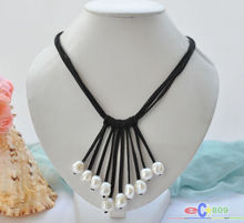 "wholesale 3row 20"" 14mm white baroque pearl black leather tassels pendant necklace"