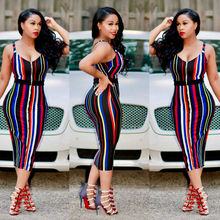 Buy 2017 New Summer Dress Sexy Women's Sleeveless Striped Dress Sheath High Waist Bandage Bodycon Clubwear Ladies Clothes Midi Dress for $6.19 in AliExpress store