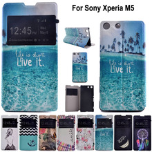 For Sony M5 Flip Case Window View Luxury PU Leather Cell Phone Case Cover For Sony Xperia M5 Dual E5603 E5633 Cases