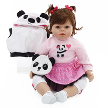 New 2017 Lifelike Reborn Kids Girl 20'' Soft Silicone Baby Dolls Cosplay Panda Handmade DIY Reborns For Sale Birthday Gifts(China)