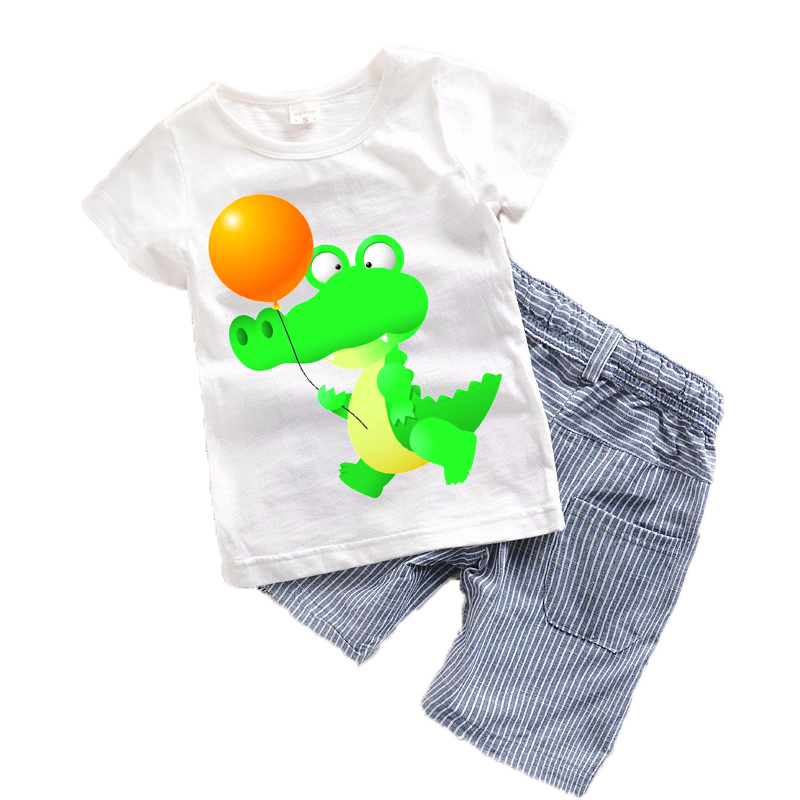 New arrival 2 pieces Children baby boys clothes 2017 Summer Toddler boys clothing sets Kids Boy costume Cute Dinosaur T22<br><br>Aliexpress