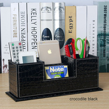 popular creative wooden PU leather pen pencil holder pencil case office desk stationery organizer for desktop accessories 202C