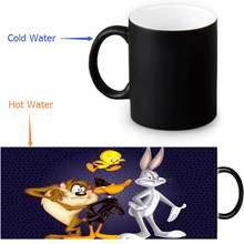 Custom Coffee Morphing Mugs Bugs Bunny Heat Sensitive Tea Milk Cup Black Color Changing Magic Ceramic Mug 350ml/12oz(China)