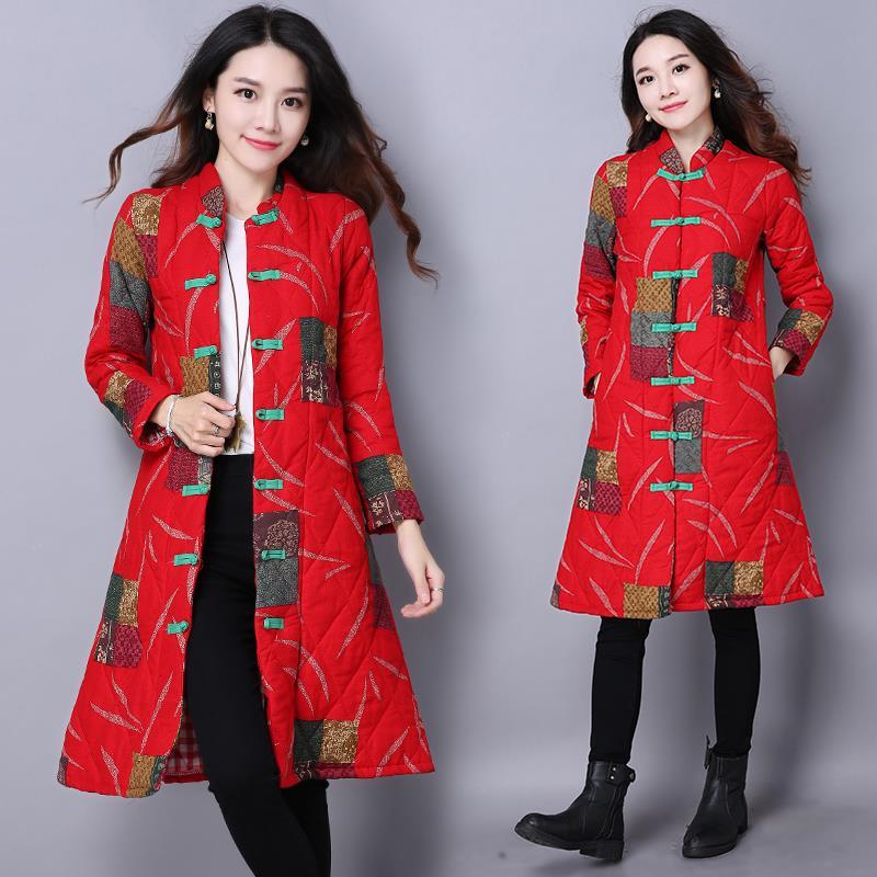 2017 new winter real folk style print disc buckle Clubman cotton coat  padded jacket manteau femme doudoune femme casacos parkasОдежда и ак�е��уары<br><br><br>Aliexpress