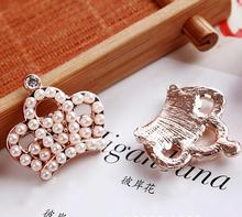 10 Pieces DIY Metal Rose Gold Button Decorative Alloy Crystal Flatback Rhinestone Pearl Crown/Tiara Buttons 2.4*2.3cm