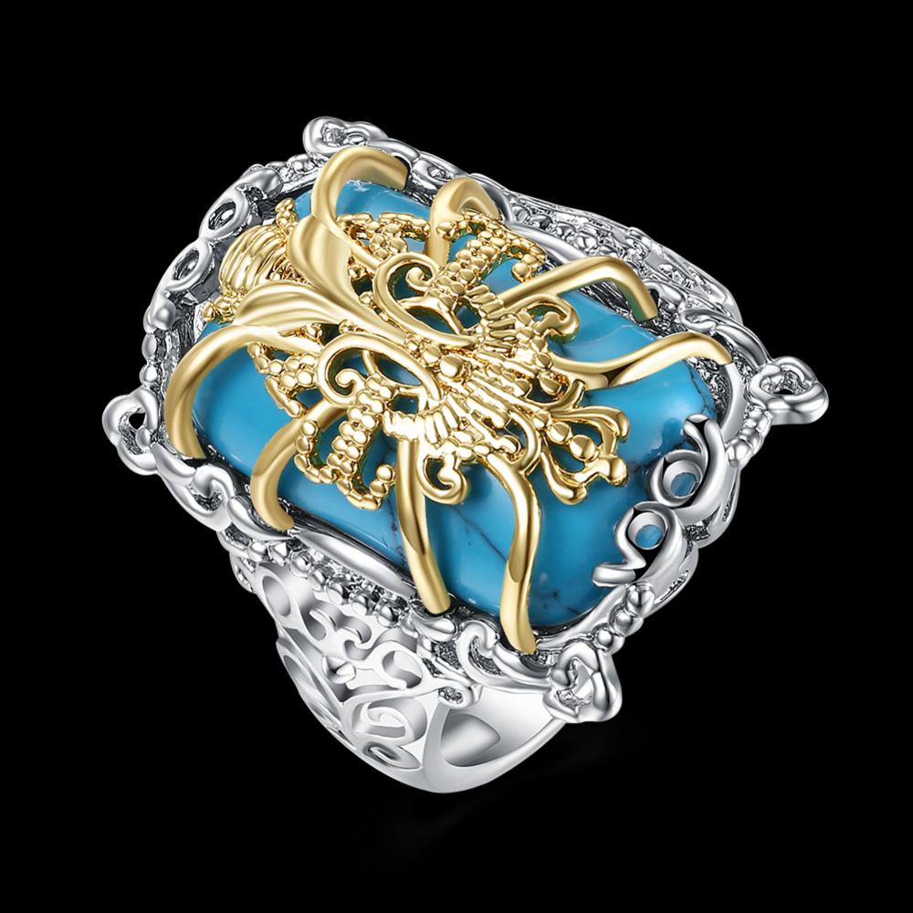 Delicate Crafted 925 Silver Turquoise With Golden Flower