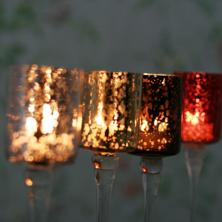 Hot Sell Mosaic Glass Candlestick Romantic Wedding Gauges European Candlestick Ktv Bar Creative Fashion Simple Home Decoration 9