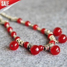New 6-14mm Natural Red Chalcedony Necklace Gifts For Women Girls Beads Stone 15inch Fashion Jewelry Making Design Wholesale(China)