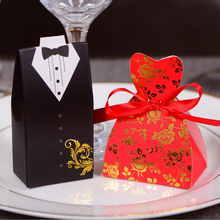 100pcs/lots Bride And Groom Wedding Candy Box Gift Favour Boxes Wedding Bonbonniere Event Party Supplies With Ribbon(China)